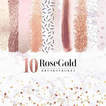 Rose Gold Brush Strokes Clip Art, Rose Gold Brush Strokes PNG Files, Glitters and Foil, Salmon Brush Strokes, Commercial Use OK, Digital from JustPSD on Etsy Studio