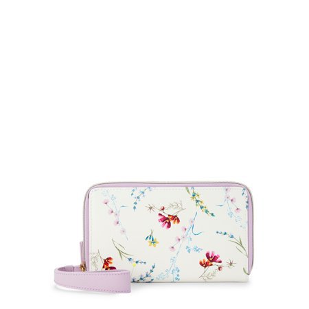 Time and Tru - Time and Tru Double Zip Wristlet Wallet - Walmart.com white