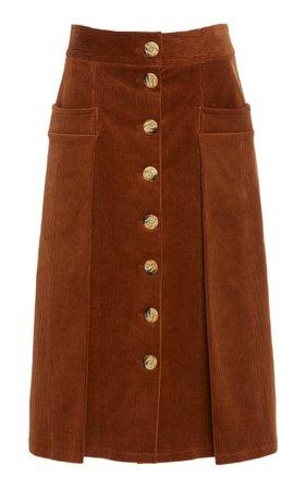 DoDo Bar Or Guiditta Cotton-Corduroy Midi Skirt Size: 46
