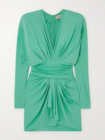 Draped Stretch-crepe Mini Dress - Jade