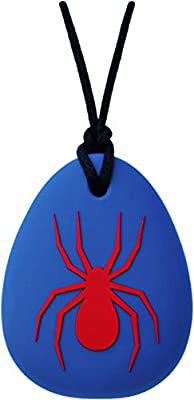 Amazon.com: Munchables Spider Chew Necklace for Boys - Sensory Chewable Jewelry (Blue with Red): Health & Personal Care