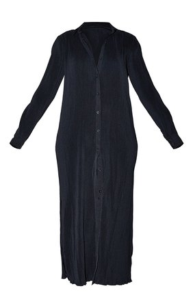 Black Plisse Button Up Split Hem Midaxi Dress   PrettyLittleThing USA