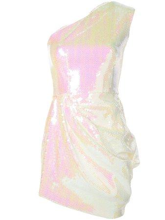 Alex Perry Holographic One Shoulder Dress   Farfetch.com