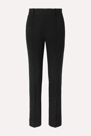 Crepe Straight-leg Pants - Black