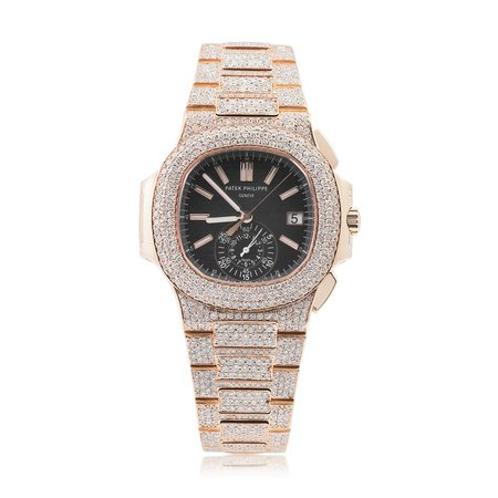 Patek Philippe 5980 Nautilus 18k Rose Gold 37ct Diamond Watch - Shyne Jewelers