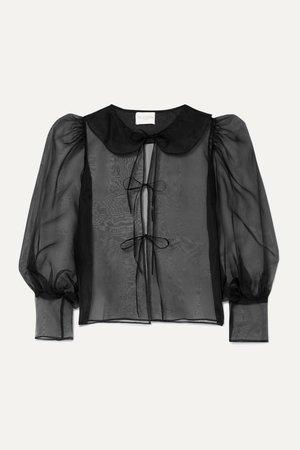 Black Emilie tie-detailed silk-organza blouse | MaisonCléo | NET-A-PORTER