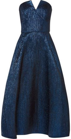 Aldrich Strapless Metallic Woven Midi Dress - Blue