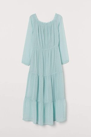 Off-the-shoulder Dress - Turquoise