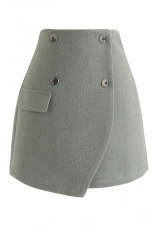 Button Trim Flap Mini Skirt in Green - NEW ARRIVALS - Retro, Indie and Unique Fashion
