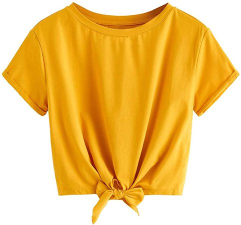 Romwe Women's Knot Front Cuffed Sleeve Crop Top Tee T-Shirt Yellow-Pure X-Large at Amazon Women's Clothing store