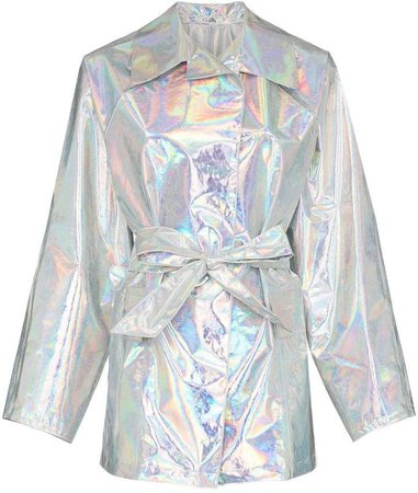 Kassl belted hologram trench coat