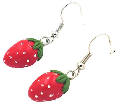 Amazon.com: Polymer Clay Handmade Ripe Mini Strawberry Earrings: Jewelry