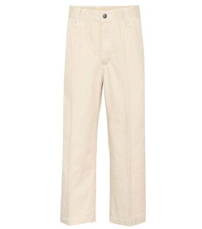 Striped cropped cotton pants