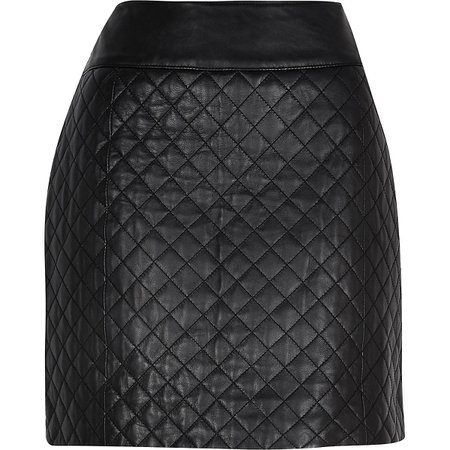 Black diamond quilted leather skirt | River Island