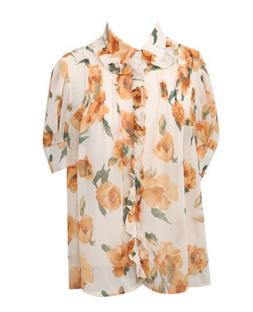 STYLENANDA FRILLED COLLAR SHORT SLEEVE FLORAL BLOUSE
