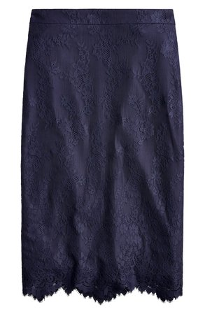 J.Crew Chantilly Lace Pencil Skirt |  Navy
