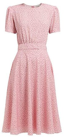 Polka Dot Print Crepe Midi Dress - Womens - Pink Multi