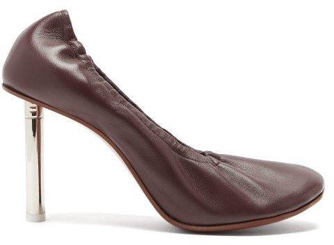 Lighter-heel Leather Ballerina Pumps - Burgundy