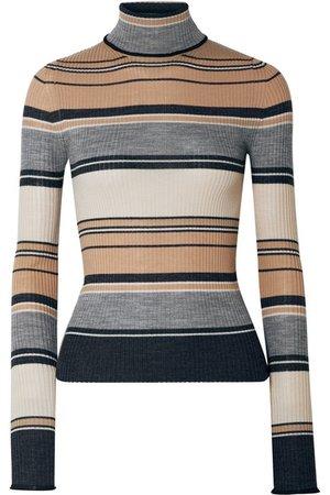 Acne Studios | Ribbed striped merino wool turtleneck sweater | NET-A-PORTER.COM