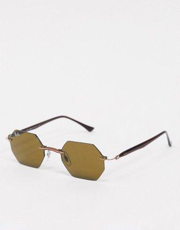 Rayban rimless slim hexagonal sunglasses in brown | ASOS