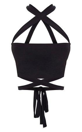 Black Slinky Tie Detail Bandeau Top | Tops | PrettyLittleThing USA