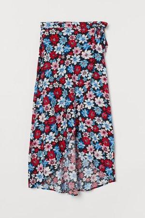Wrap-front Skirt - Black floral - Ladies   H&M US