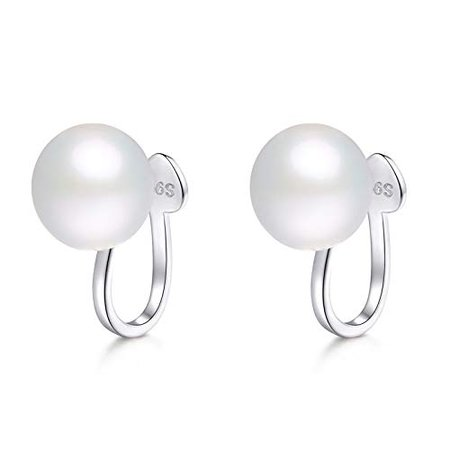 Amazon.com: OwMell 925 Sterling Silver White Pearl 6mm Stud Clip on Earrings Genuine Shell Pearls Studs for Non-Pierced Ears for Women Girls: Jewelry