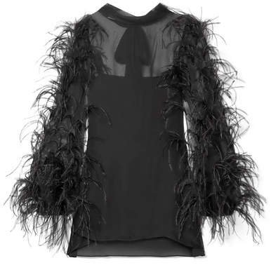 Feather-trimmed Silk-chiffon Top - Black