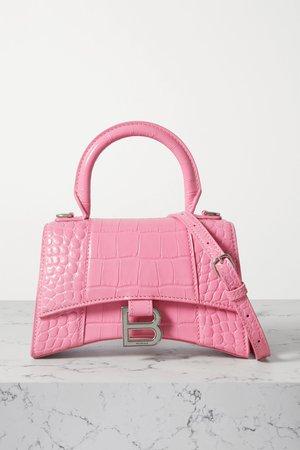 Pink Hourglass XS croc-effect leather tote   Balenciaga   NET-A-PORTER