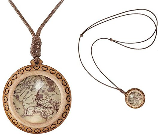 Amazon.com: XUTAI Custom Vintage Charm Wooden Glass Necklace Pendant Jewelry for Women's Mom (The Map): Jewelry