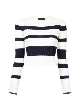 Black and white striped crop top long sleeve stripes