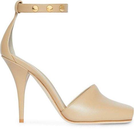 Triple Stud Leather Peep-toe Sandals