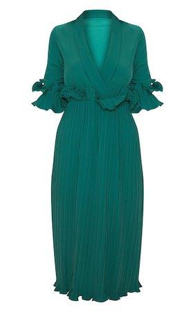 Emerald Green Frill Pleated Midi Dress   PrettyLittleThing