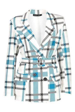 Grid Check Belted Blazer   Boohoo