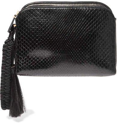 Wristlet Tasseled Python Clutch - Black