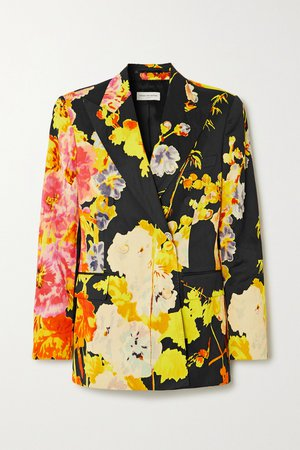 Black Double-breasted floral-print satin blazer | Dries Van Noten | NET-A-PORTER