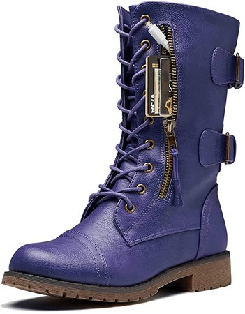 Amazon.com: DailyShoes Women's Military Lace Up Buckle Combat Boots Mid Knee High Exclusive Credit Card Pocket, Elegant red, 9 B(M): Shoes