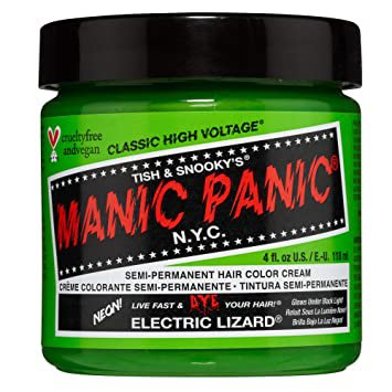 Manic Panic Electric Lizard Hair Dye - Classic High Voltage - Semi Permanent Hair Color - Neon Lime Green Shade - Glows in Blacklight - Vegan, PPD & ...