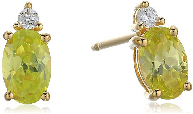 Amazon.com: 18K Yellow Gold Plated Sterling Silver Peridot Colored Cubic Zirconia Stud Earrings: Clothing