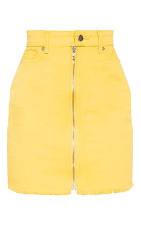 Butter Yellow Zip Front Denim Skirt | PrettyLittleThing