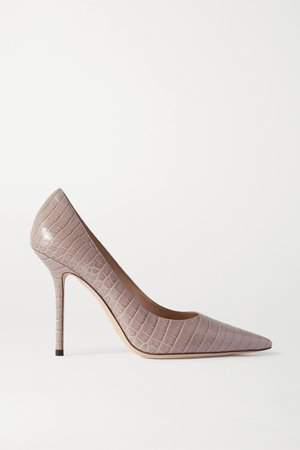 Taupe Love 100 croc-effect leather pumps | Jimmy Choo | NET-A-PORTER