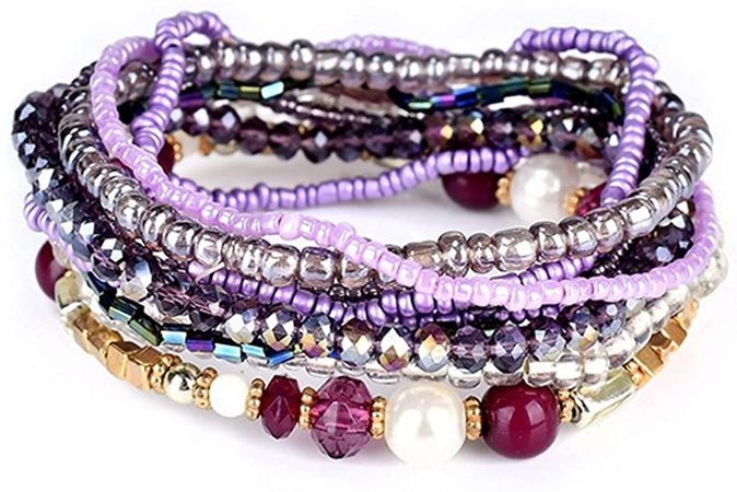 Amazon.com: MengPa Beaded Bracelets for Women Girls Bohemian Stretch Stackable layering Strand Statement Jewelry (Purple) G3207B: Clothing