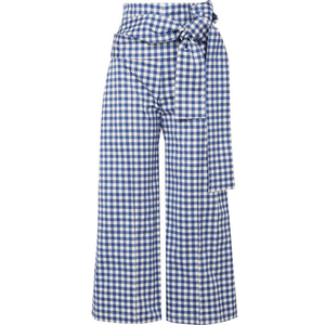 Silvia Tcherassi - Salve Cropped Gingham Cotton-blend Wide-leg Pants - Blue for $580.00 available on URSTYLE.com