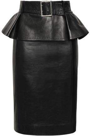 Belted Leather Peplum Skirt