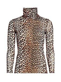 Ganni leopard mesh turtleneck