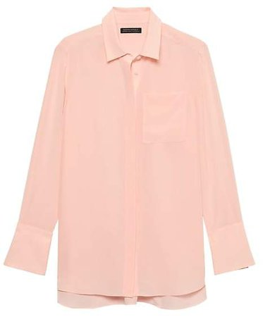 Parker Tunic-Fit Washable Silk High-Low Shirt