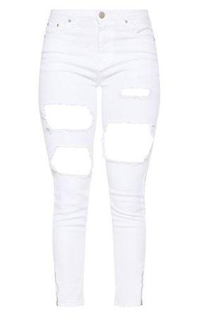 Extreme Rip White 5 Pocket Skinny Jean   PrettyLittleThing