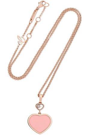 Chopard | Happy Hearts 18-karat rose gold, diamond and stone necklace | NET-A-PORTER.COM
