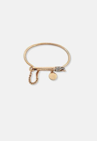 Gold Look Safety Pin Bangle Bracelet | Missguided