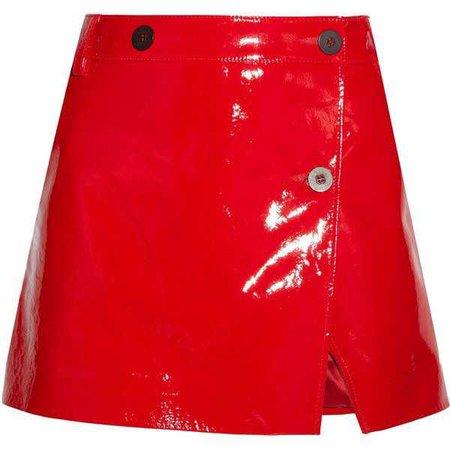 Topshop Unique Patent-leather wrap mini skirt ($255)